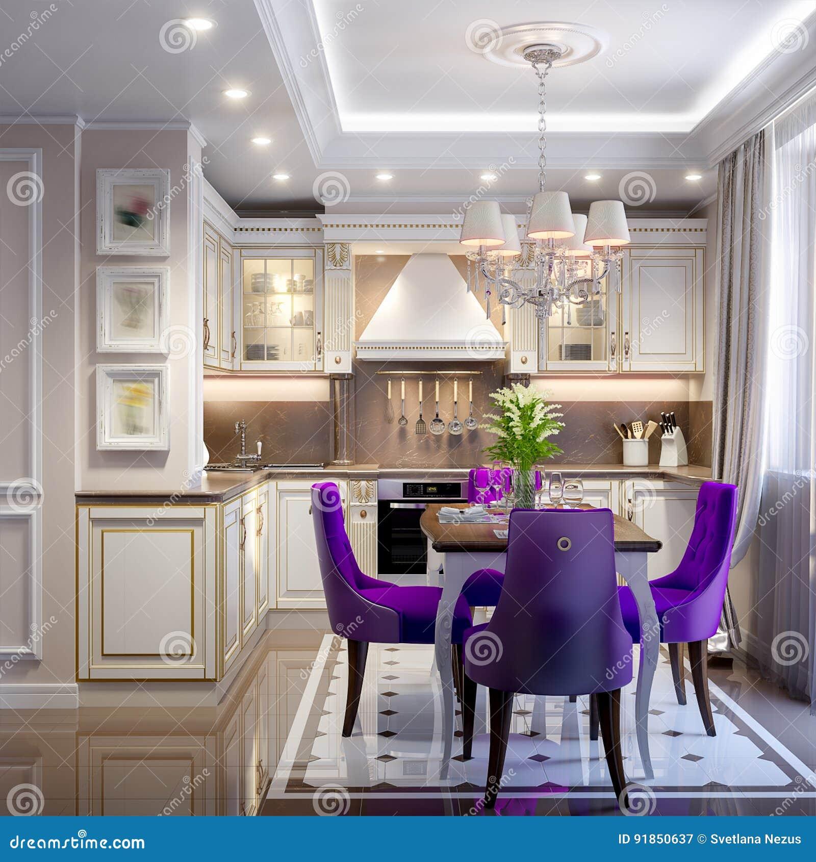 Elegante Moderne Klassische Küchen-Innenarchitektur Stock Abbildung ...