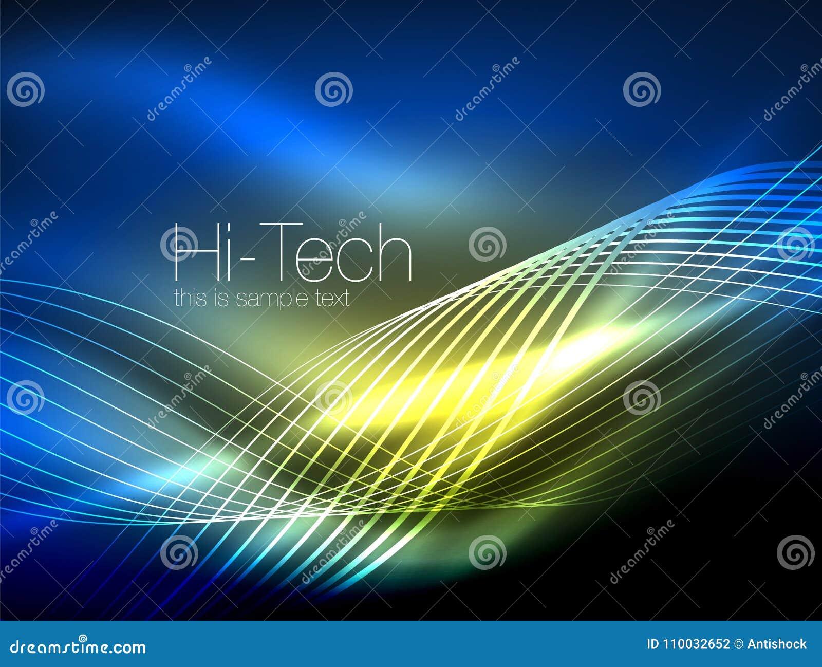 Elegante neon stromende strepen, vlotte golven met lichteffecten