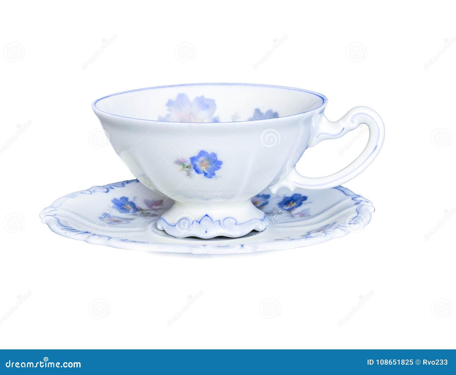 Elegante Porzellanteeschale auf der Untertasse lokalisiert auf weißem Hintergrund