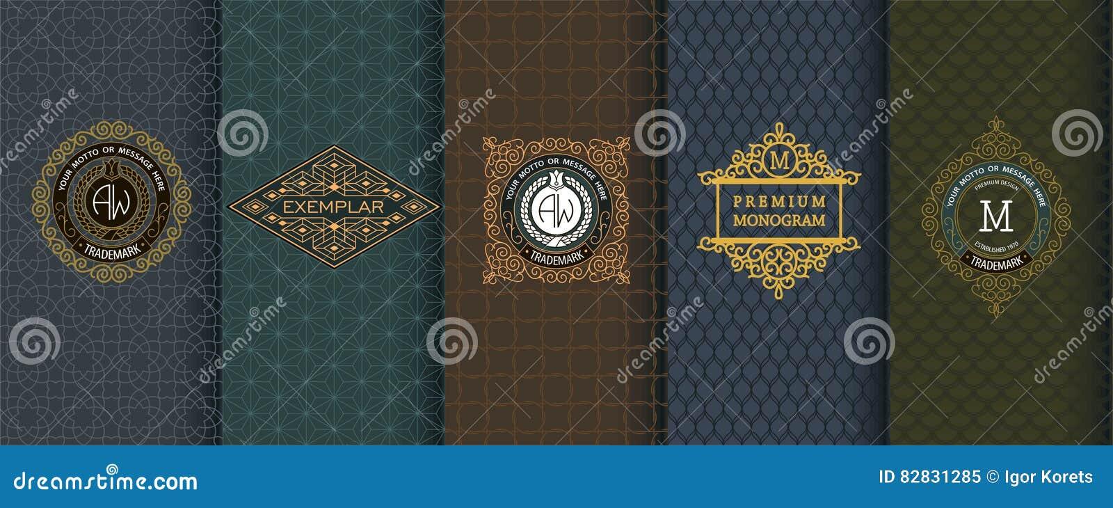 Elegante reeks ontwerpelementen, etiketten, pictogram, kaders, naadloze achtergronden
