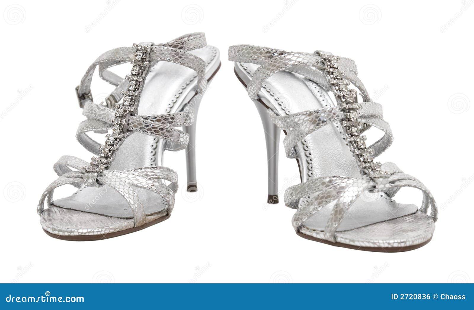 Elegante Silberne Schuhe Der Frau Stockfoto Bild Von Glanzend