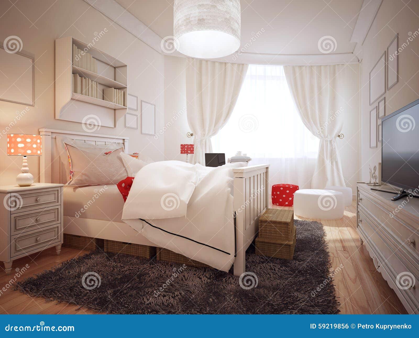 Elegante slaapkamer in art decotendens stock illustratie