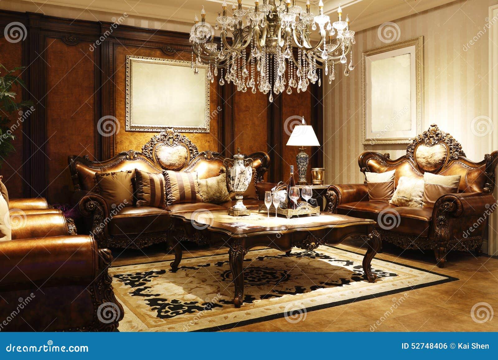Elegante stijl van de zitkamer stock foto afbeelding bestaande