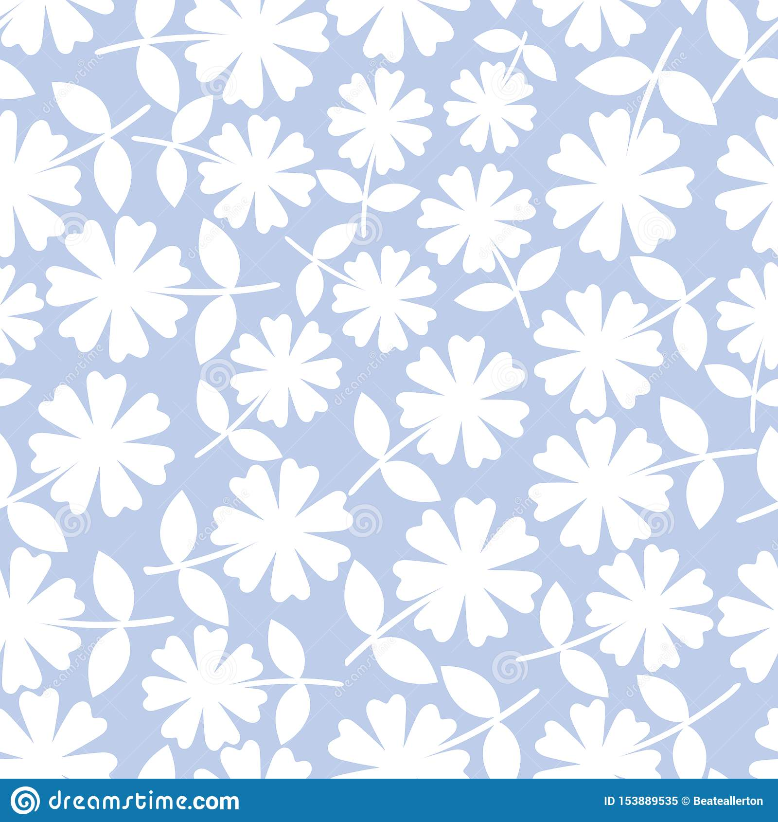 Elegante weiße Blumen im ditsy Blumenmuster Nahtloses Vektormuster auf hellblauem Hintergrund Gro? f?r Wellness