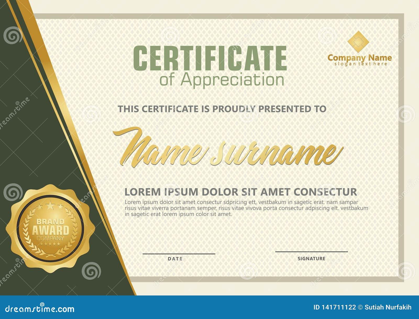 Elegante Zertifikatschablone mit Luxus- und modernem Musterhintergrund