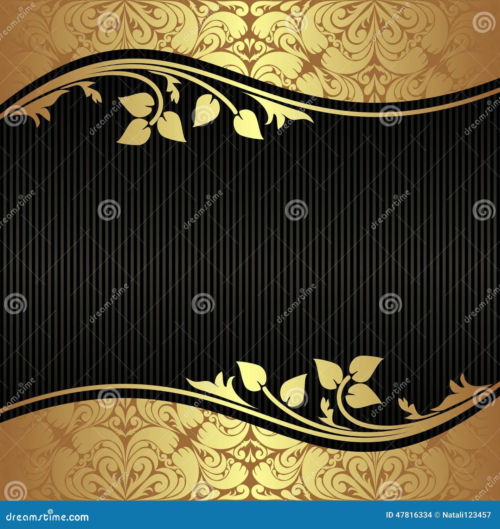 Elegante zwarte Achtergrond met bloemen gouden Grenzen
