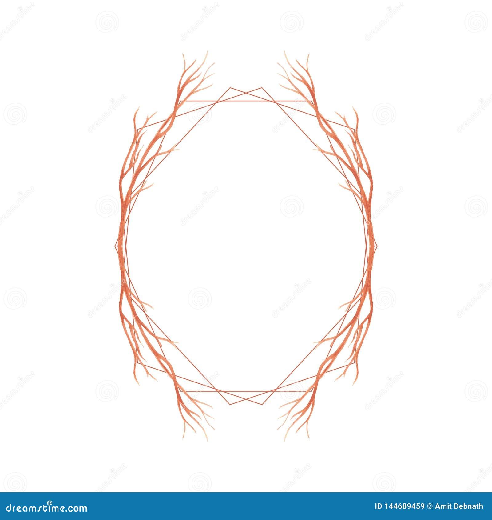 Eleganter Rahmen f?r Heiratseinladung mit Aquarell