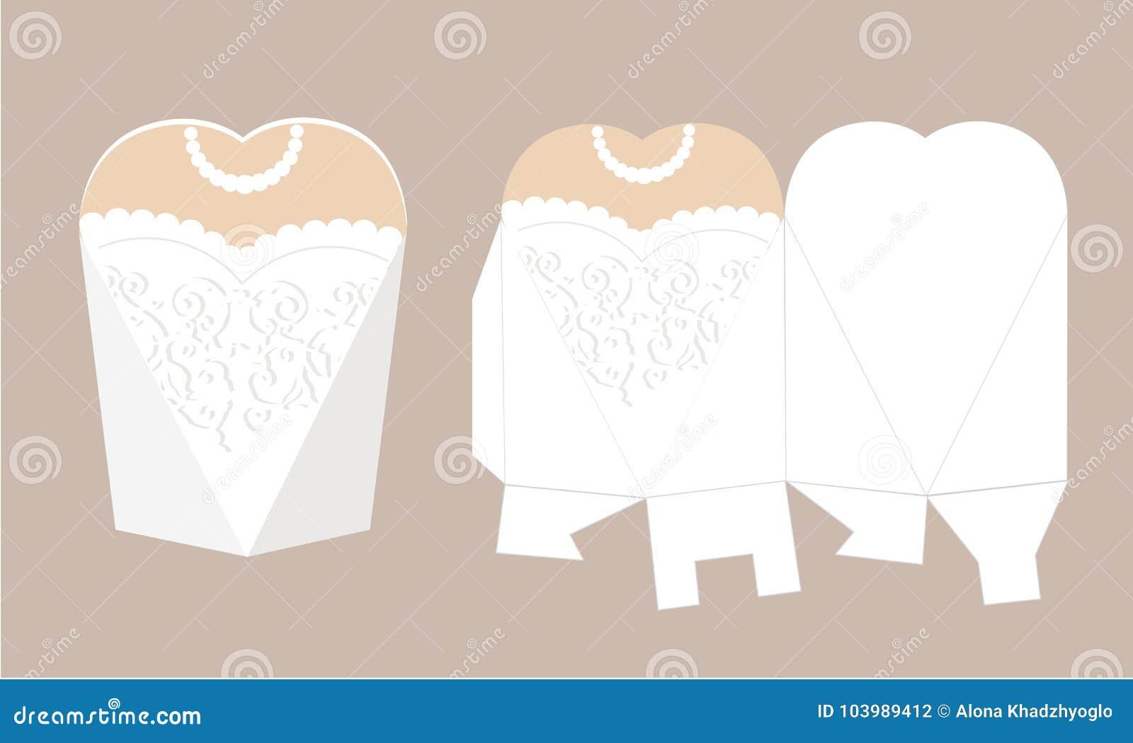 Elegantes Brautkleid mit Spitze Hochzeitskleiderkasten Bedruckbare Verpackung Braut - weißer Bevorzugungskasten Die Form der Pyra