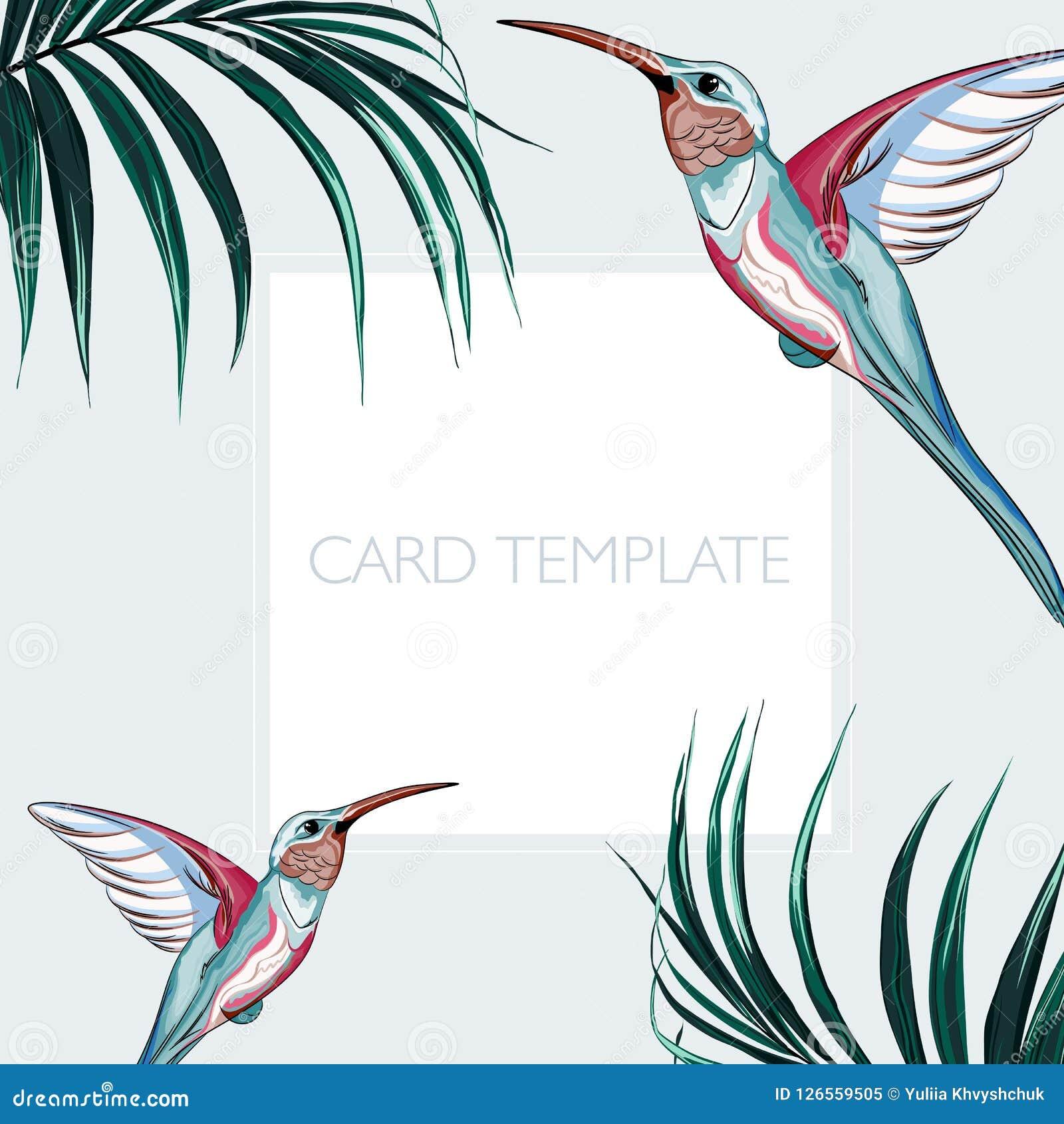 Elegantes florales invitan a diseño de tarjeta: hojas de palma tropicales y pájaros rosados del paraíso