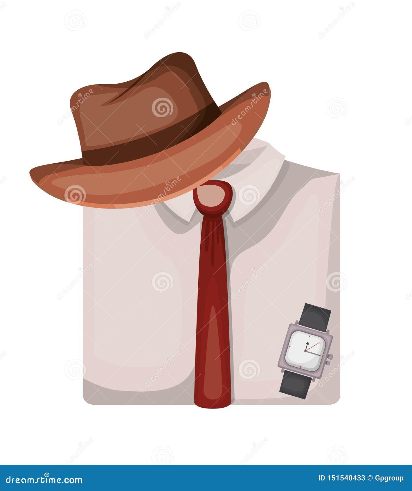 Elegantes Hemd gefaltet mit Hut und Uhr