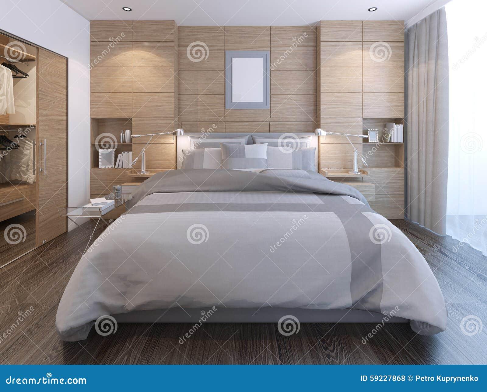 Elegantes Schlafzimmer Mit Wanddekoration Stock Abbildung - Bild ...