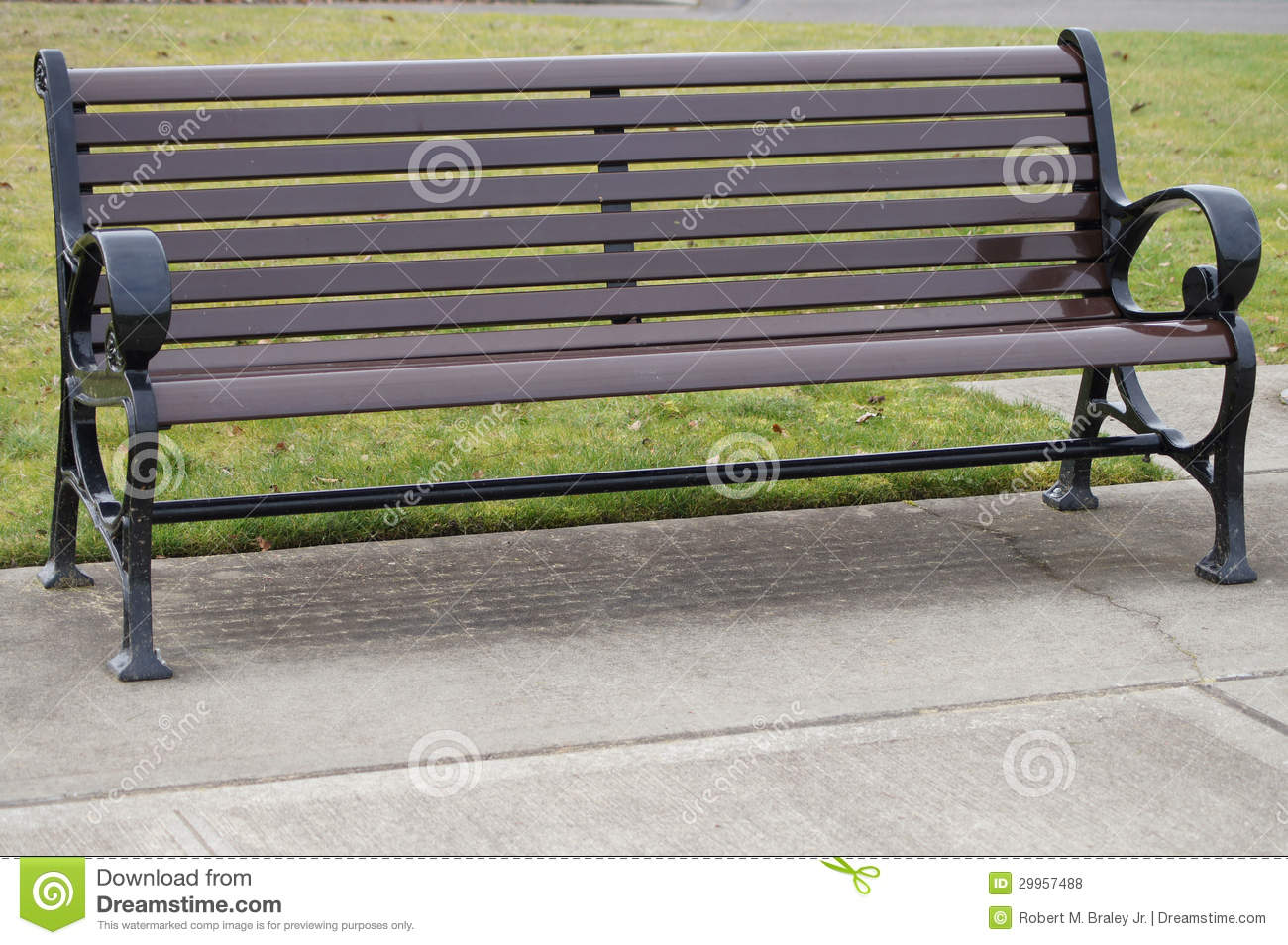 Wooden park bench