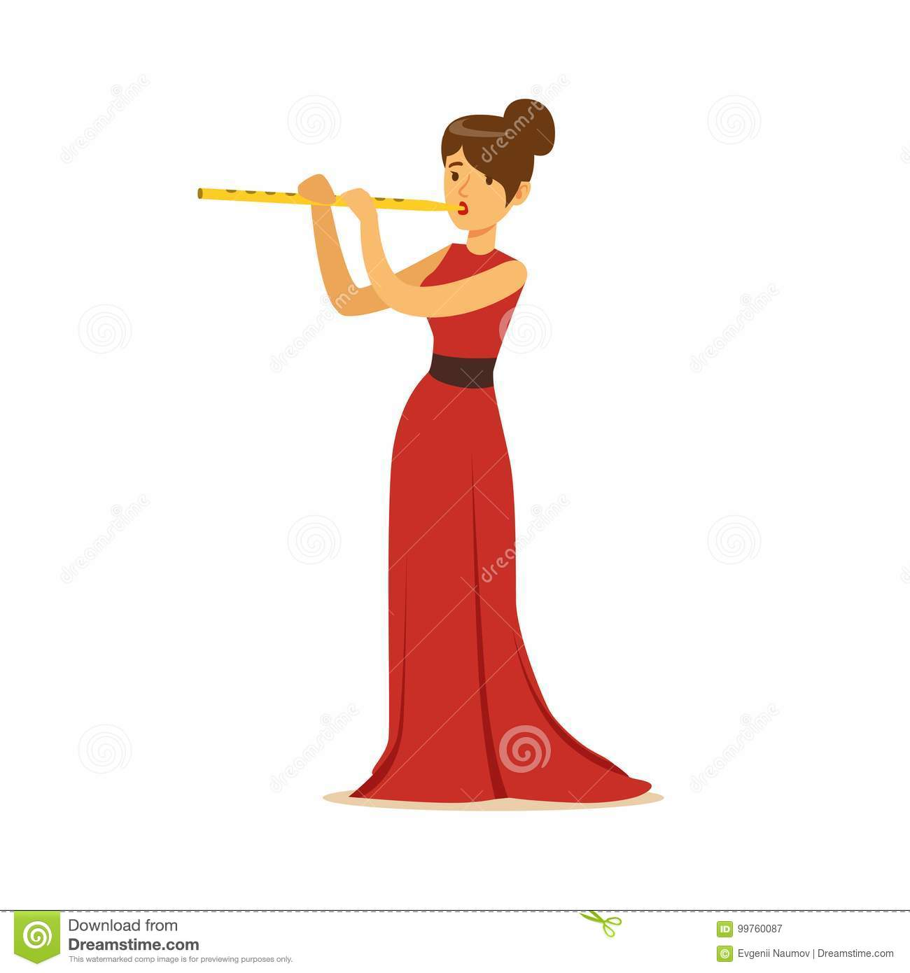 Elegantly Dressed Female Musician Playing Flute, Classical