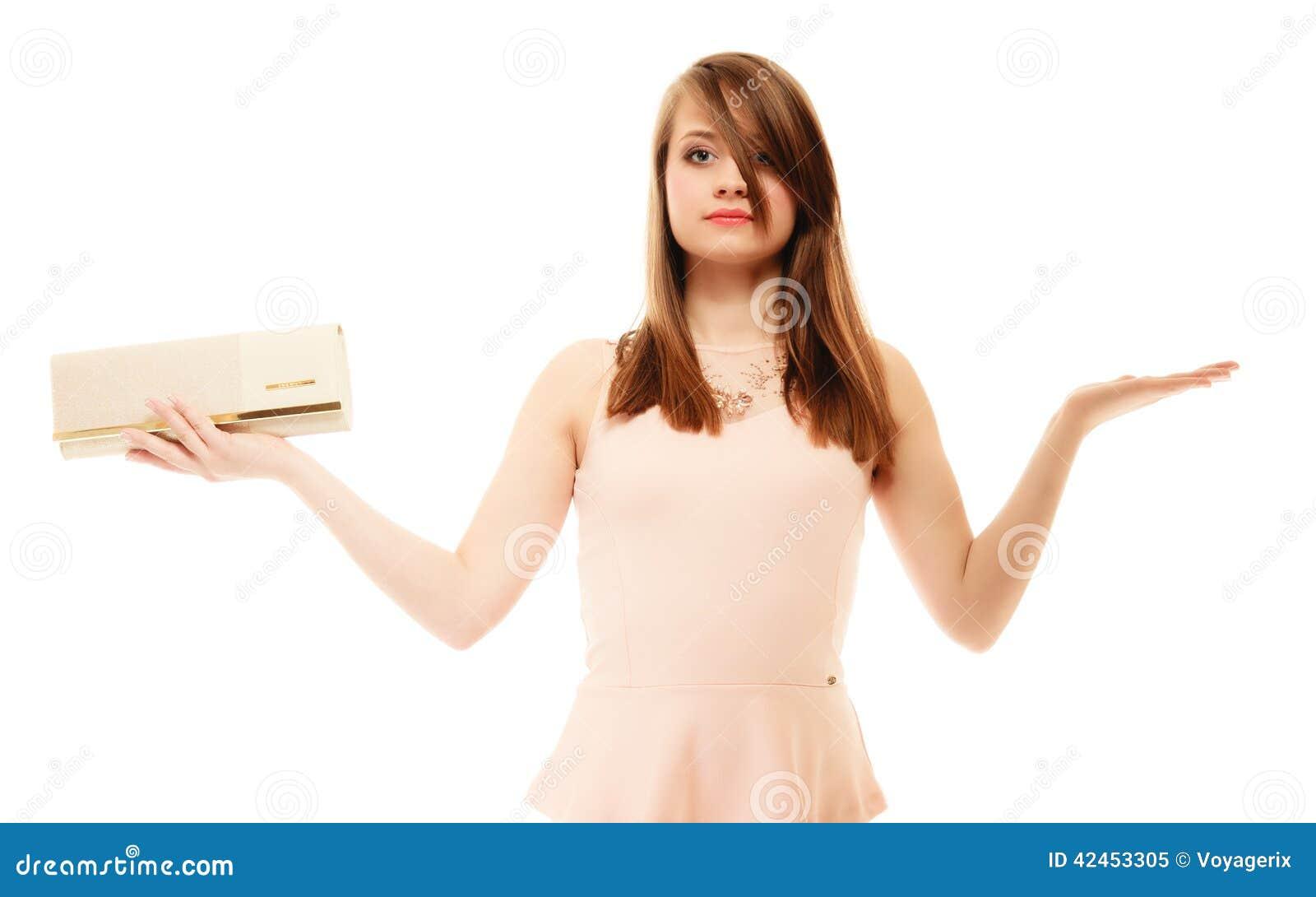 Eleganz Porträt des Mädchens mit Handtaschen- und Kopienraum