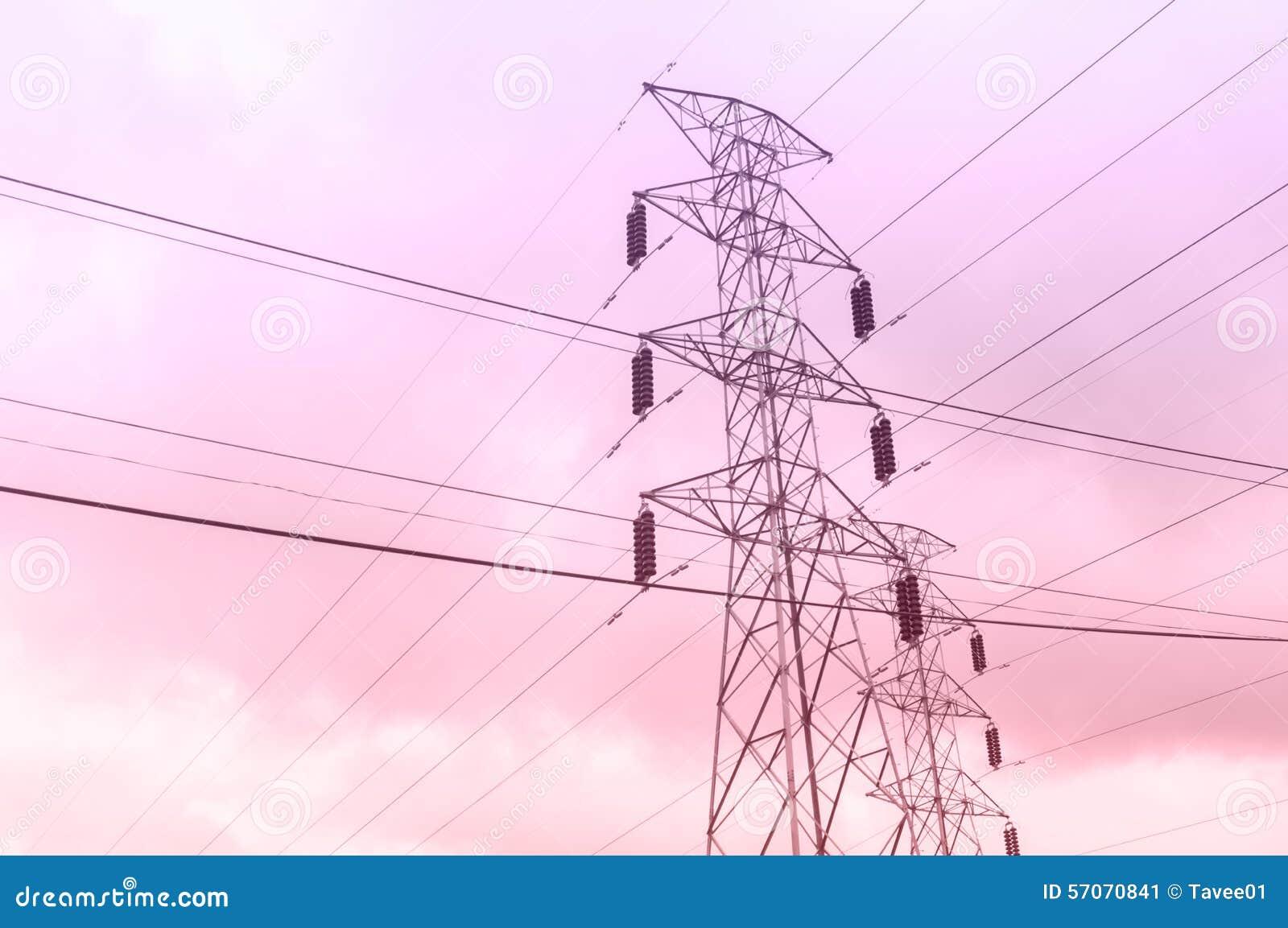 Elektriciteitspost op avondtijd