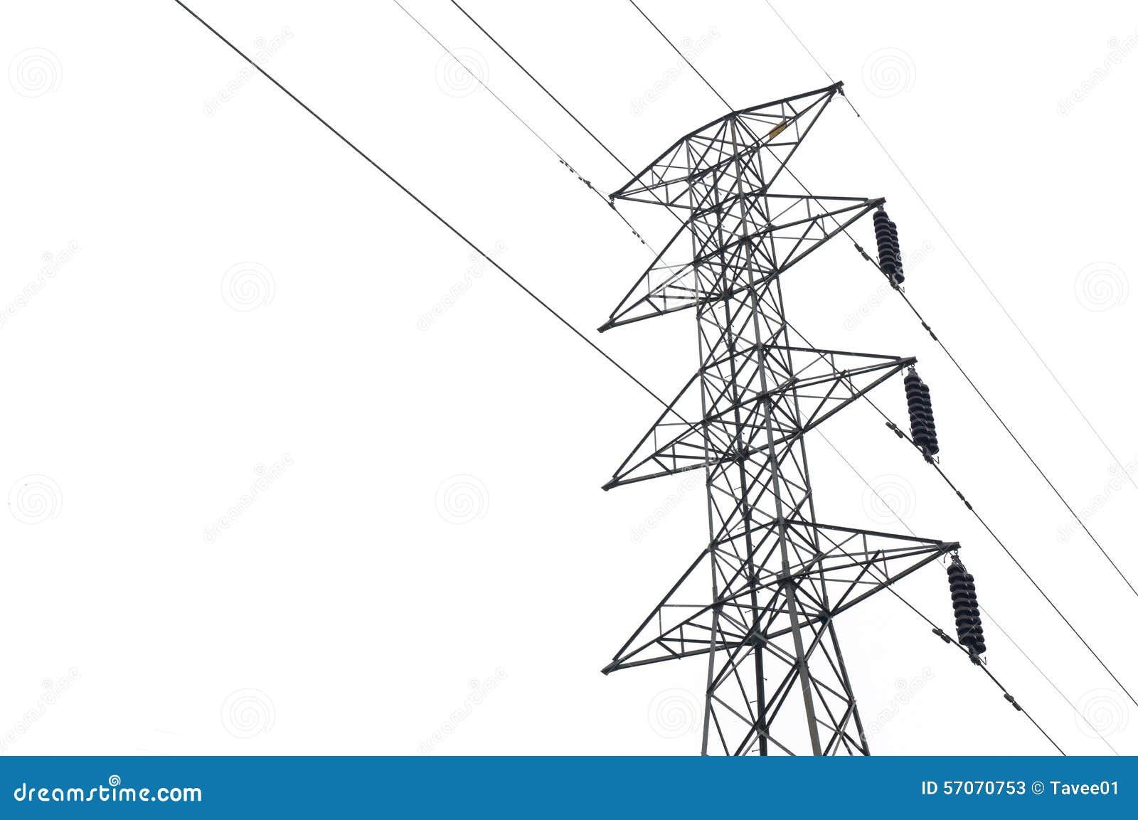 Elektriciteitspost op wit wordt geïsoleerd dat