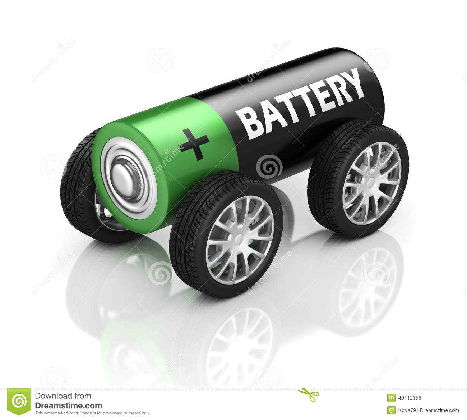 Elektrisch Auto 3d Concept Batterij Op Wielen Stock Illustratie