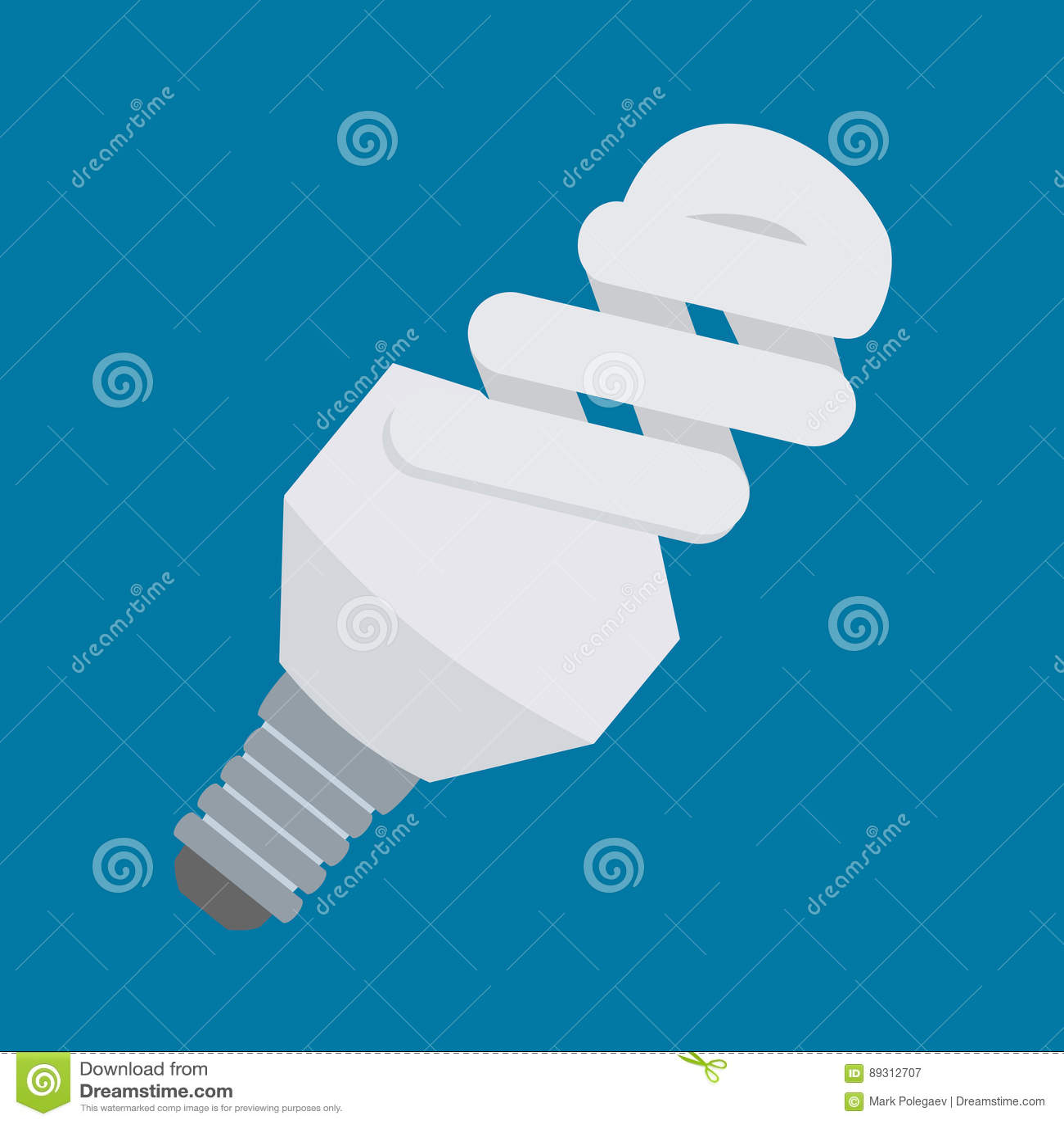 Elektrisch gloeilampen vectorpictogram in vlak stijlontwerp Compacte fluorescente lamp of CFL-symbool Energy-saving lichte buis