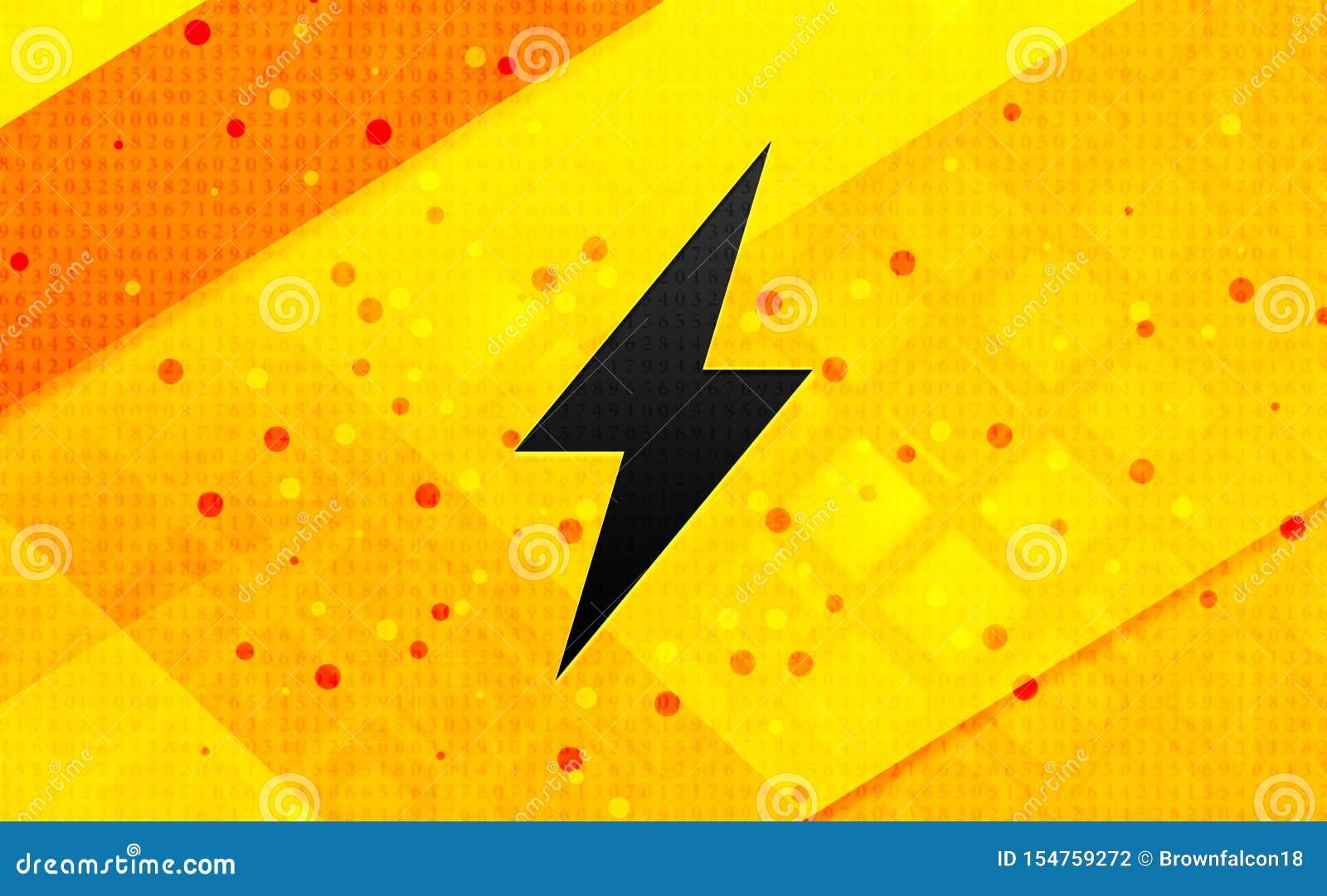Elektrische abstracte digitale de banner gele achtergrond van het boutpictogram