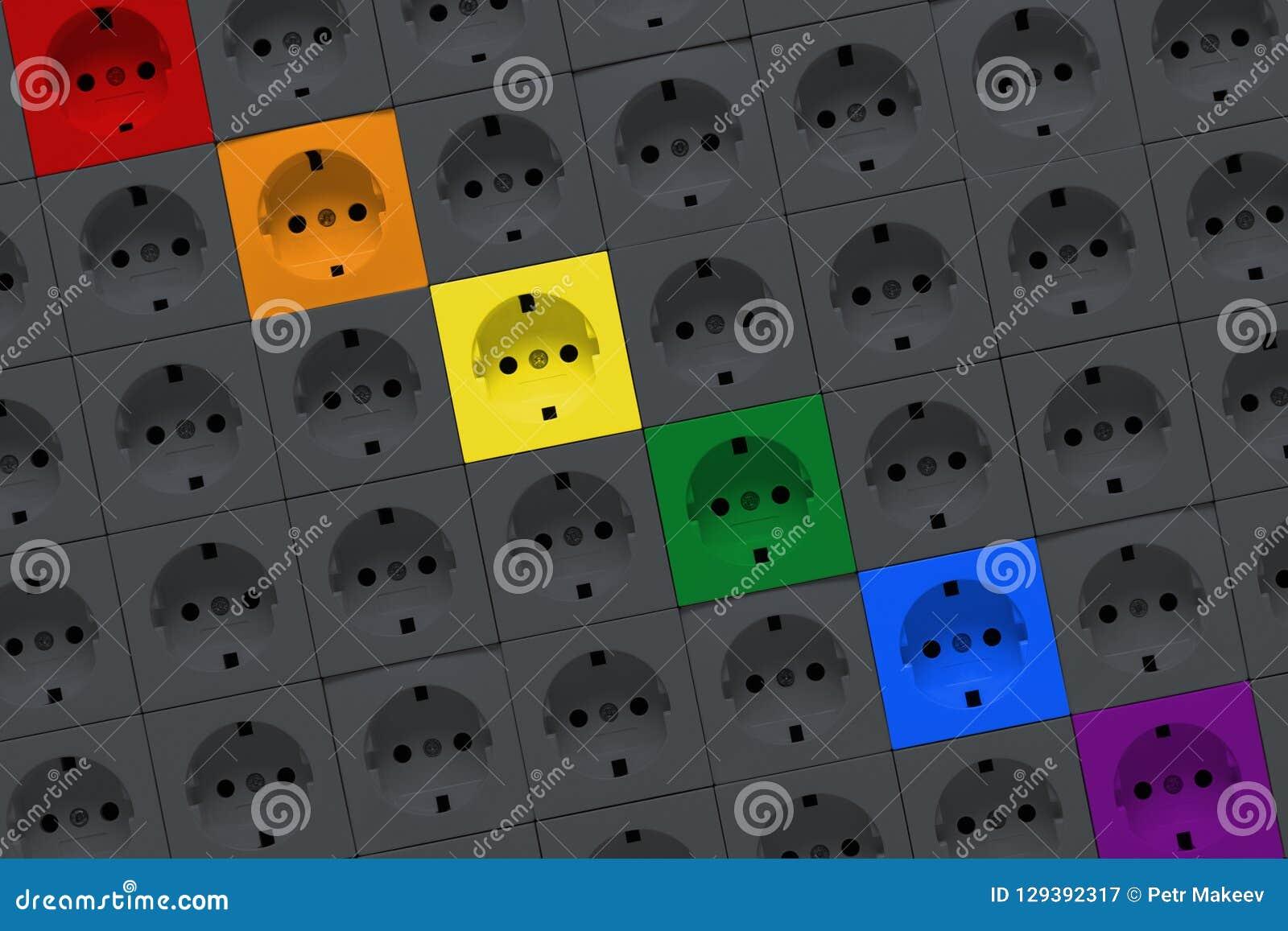Elektrische afzet van regenboogkleuren