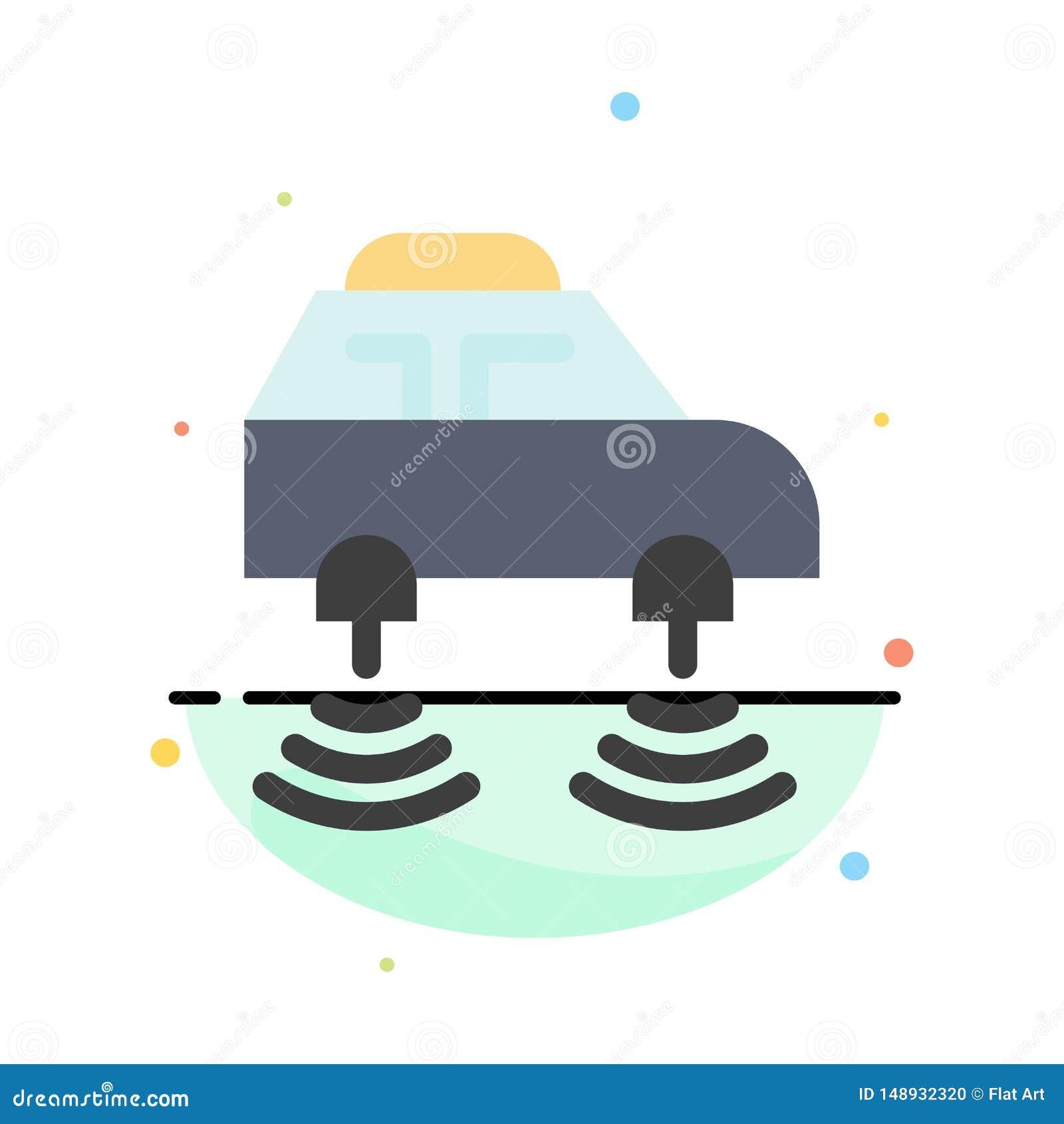 Elektrische auto, Netwerk, Smart, het Pictogrammalplaatje van de wifi Abstract Vlak Kleur