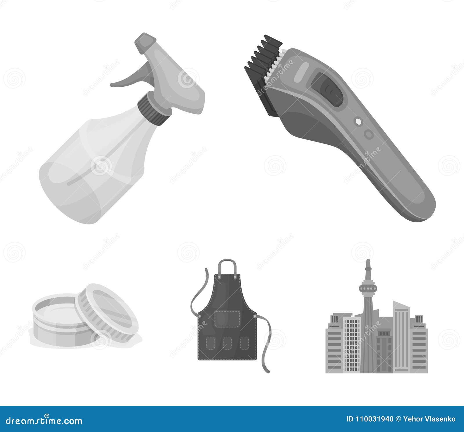 Elektrische clipper, schort, room en andere toebehoren voor een mannelijke kapper Pictogrammen van de herenkapper de vastgestelde
