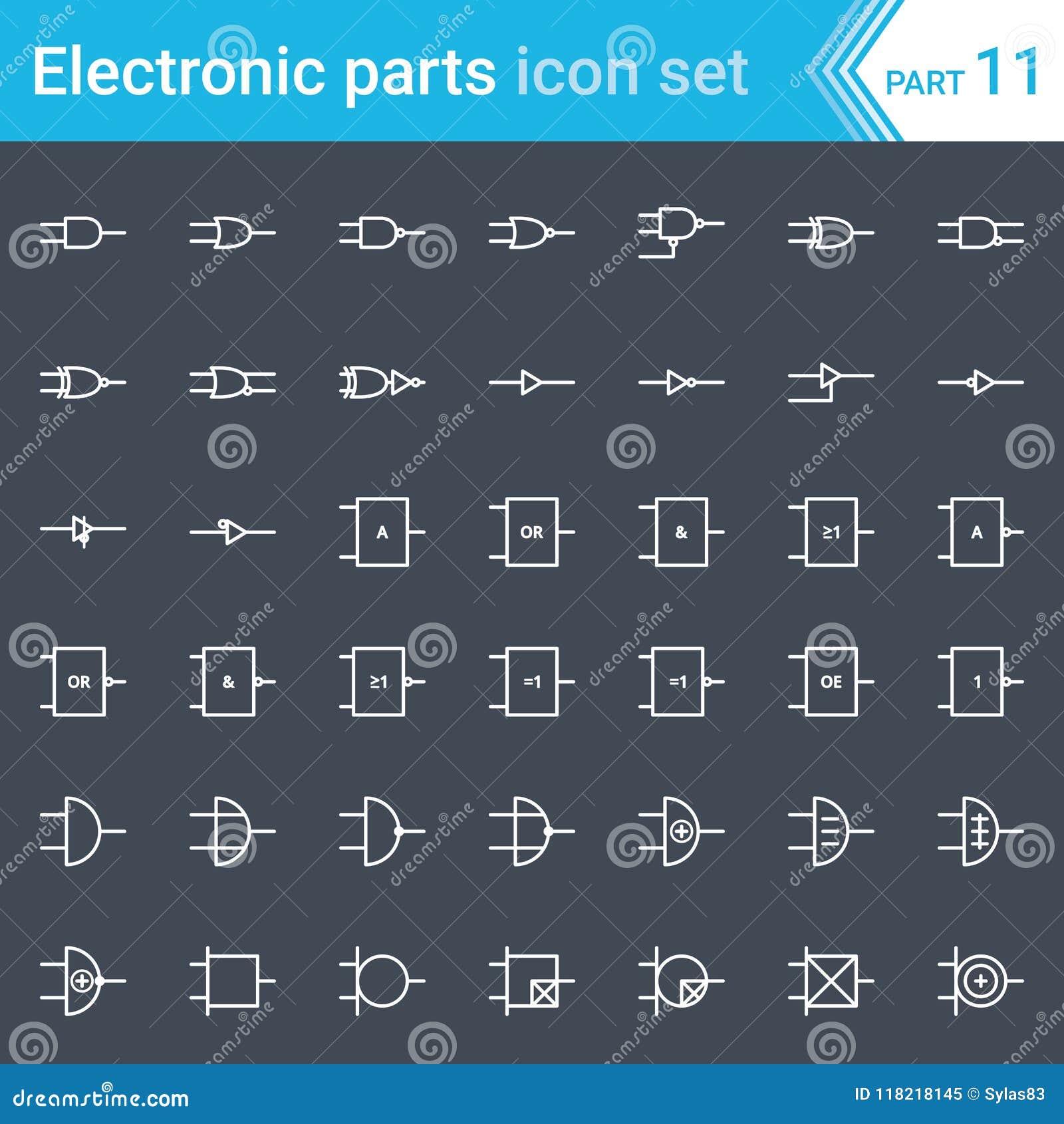 Elektrische en elektronische pictogrammen, elektrische diagramsymbolen Digitale elektronika, ansi van de logicapoort systeem, Bri