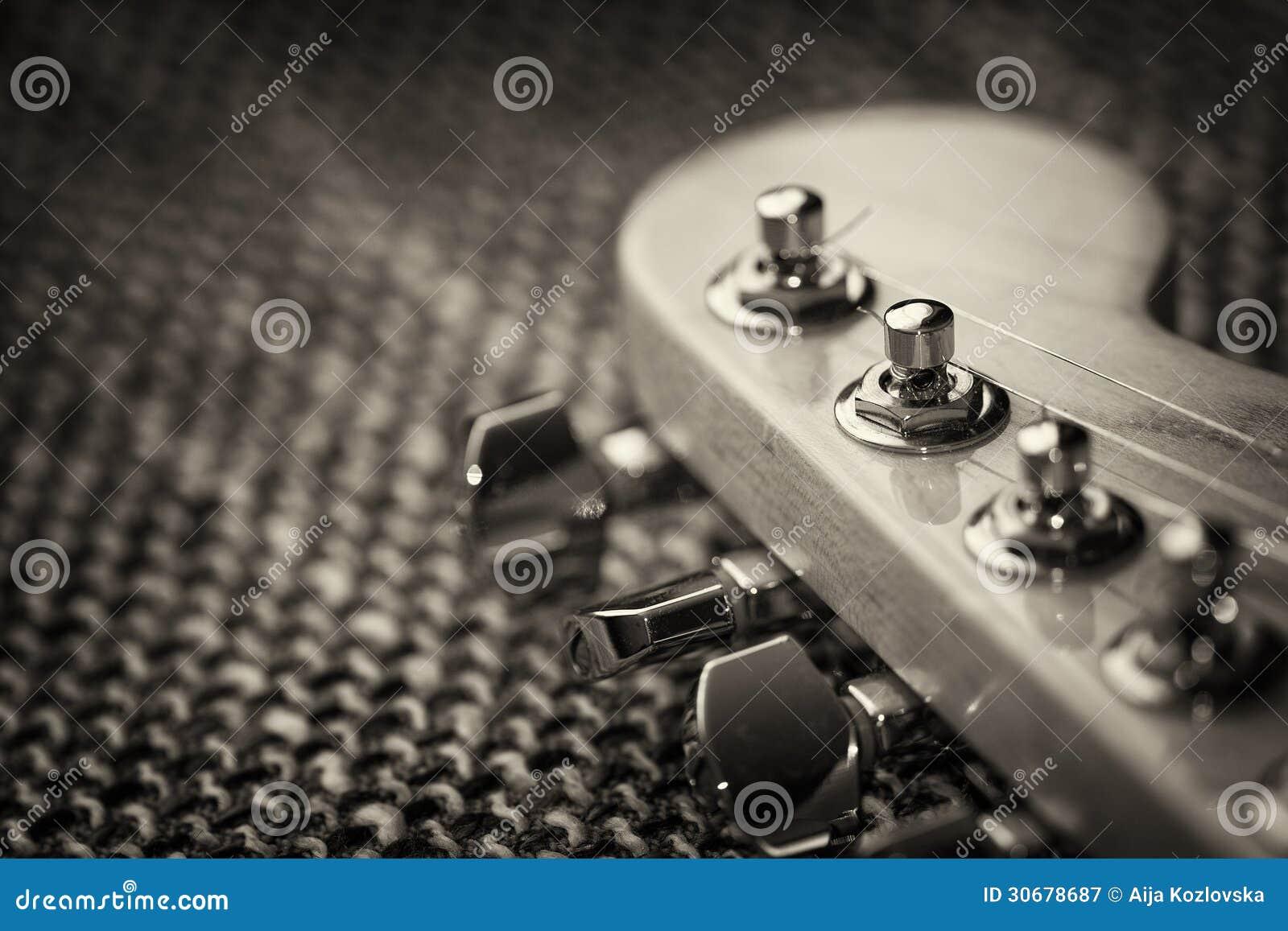 Elektrische Gitarrenspindelkastennahaufnahme