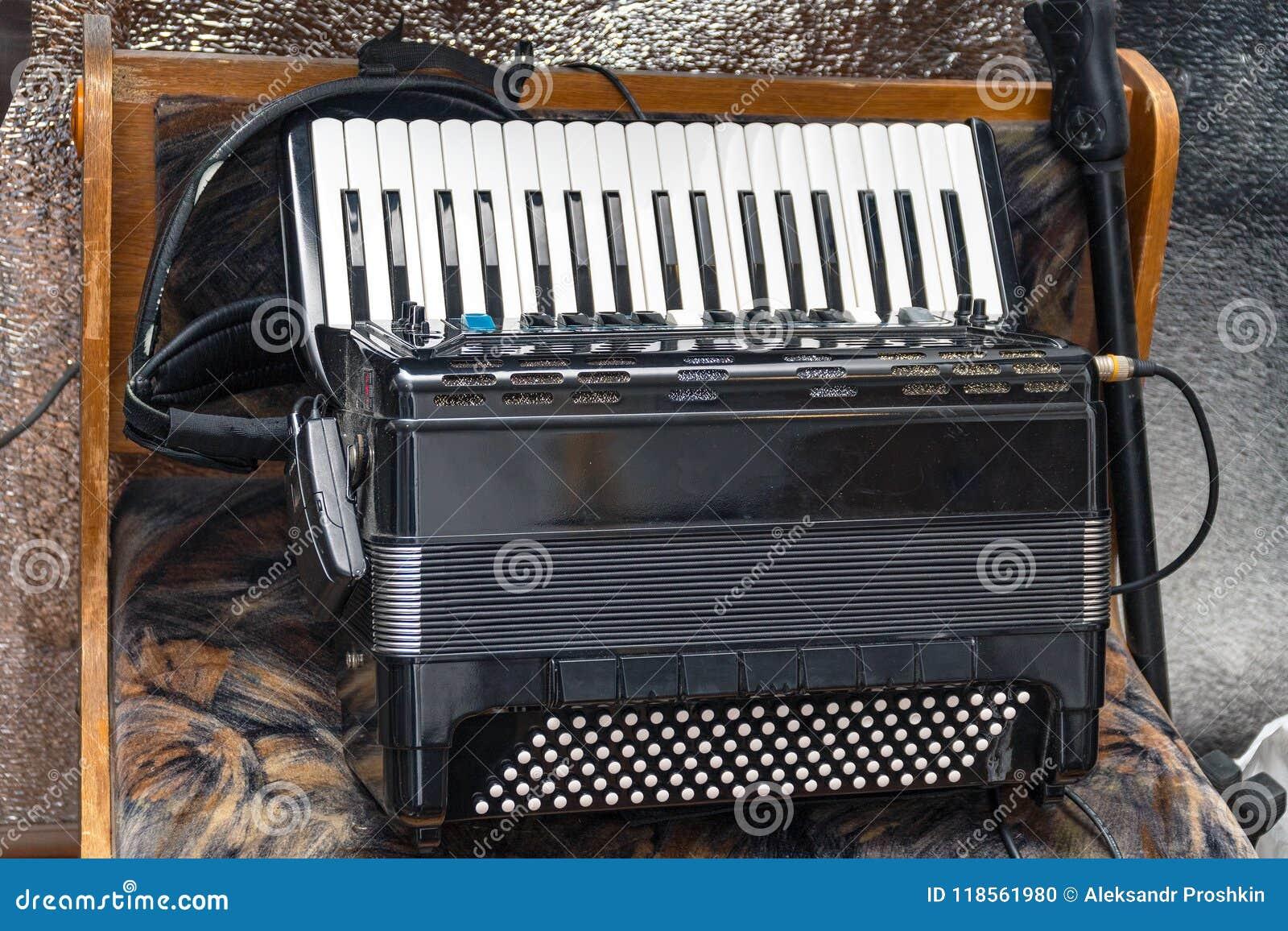 Elektrische harmonika op een natuurlijke achtergrond