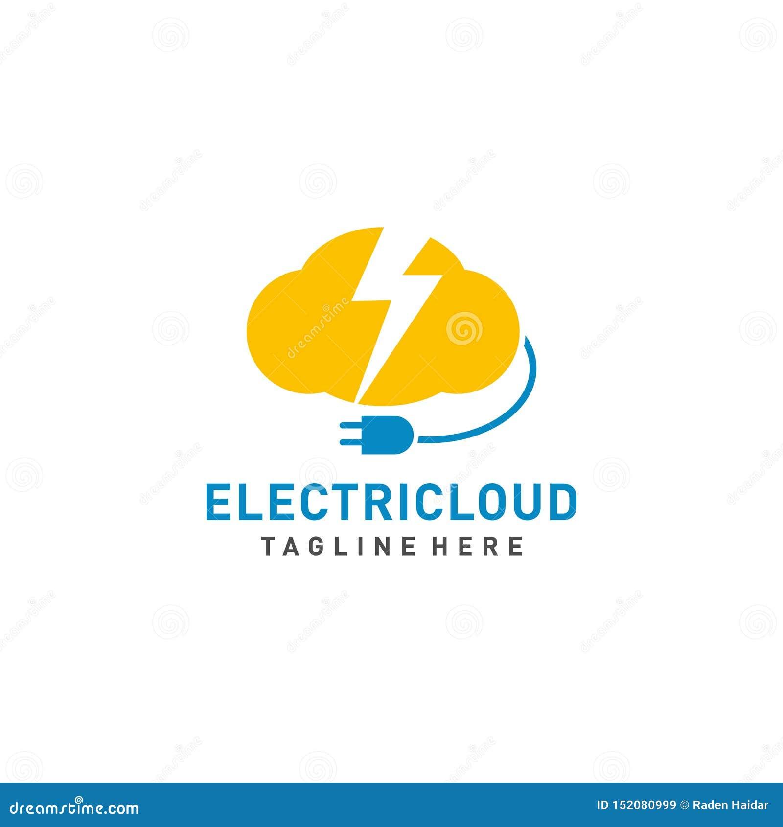 Elektrische het ontwerpvector van het Wolkenembleem met kabelillustratie