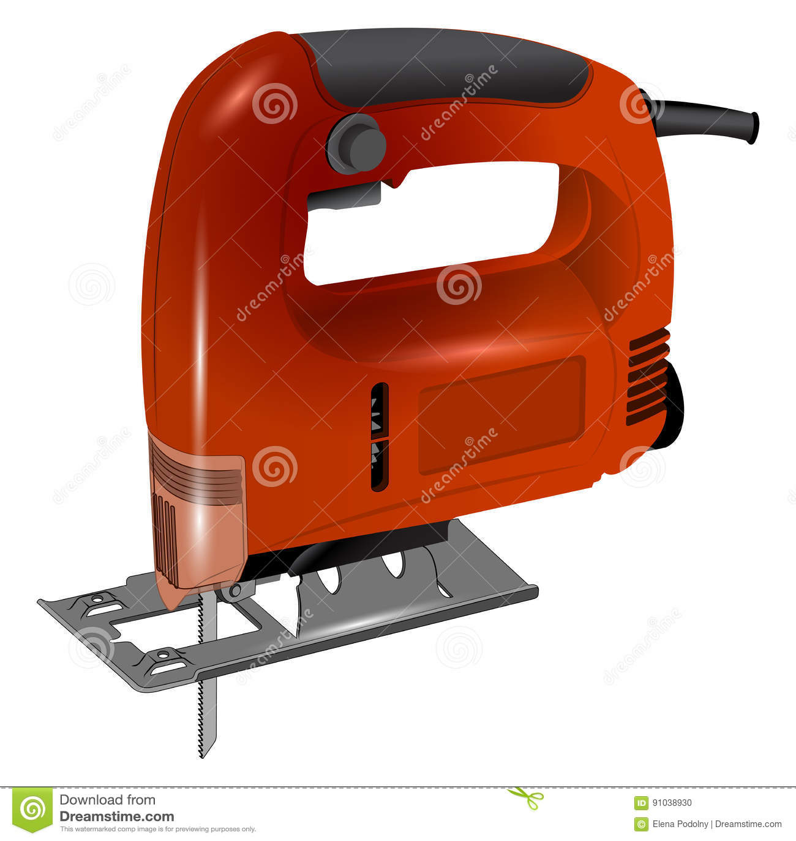elektrische laubsäge im roten körper vektor abbildung - illustration