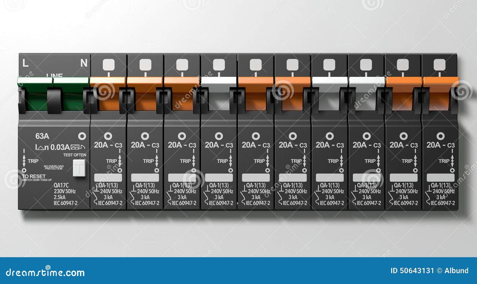 Elektrische Leistungsschalter-Platte Stockbild - Bild von verteilung ...