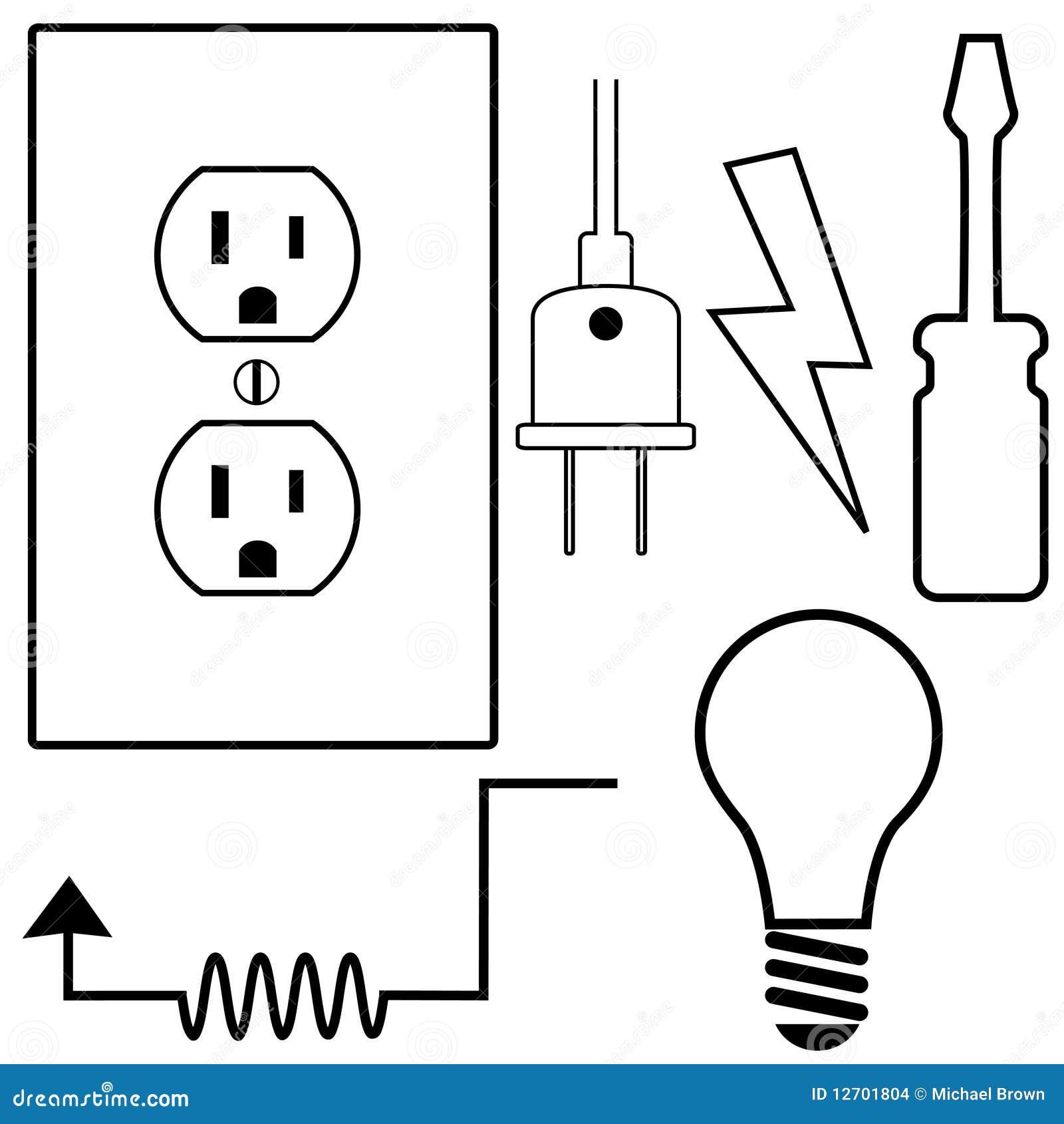 Elektrisches Symbol-Ikonen-Set Vektor Abbildung - Illustration von ...