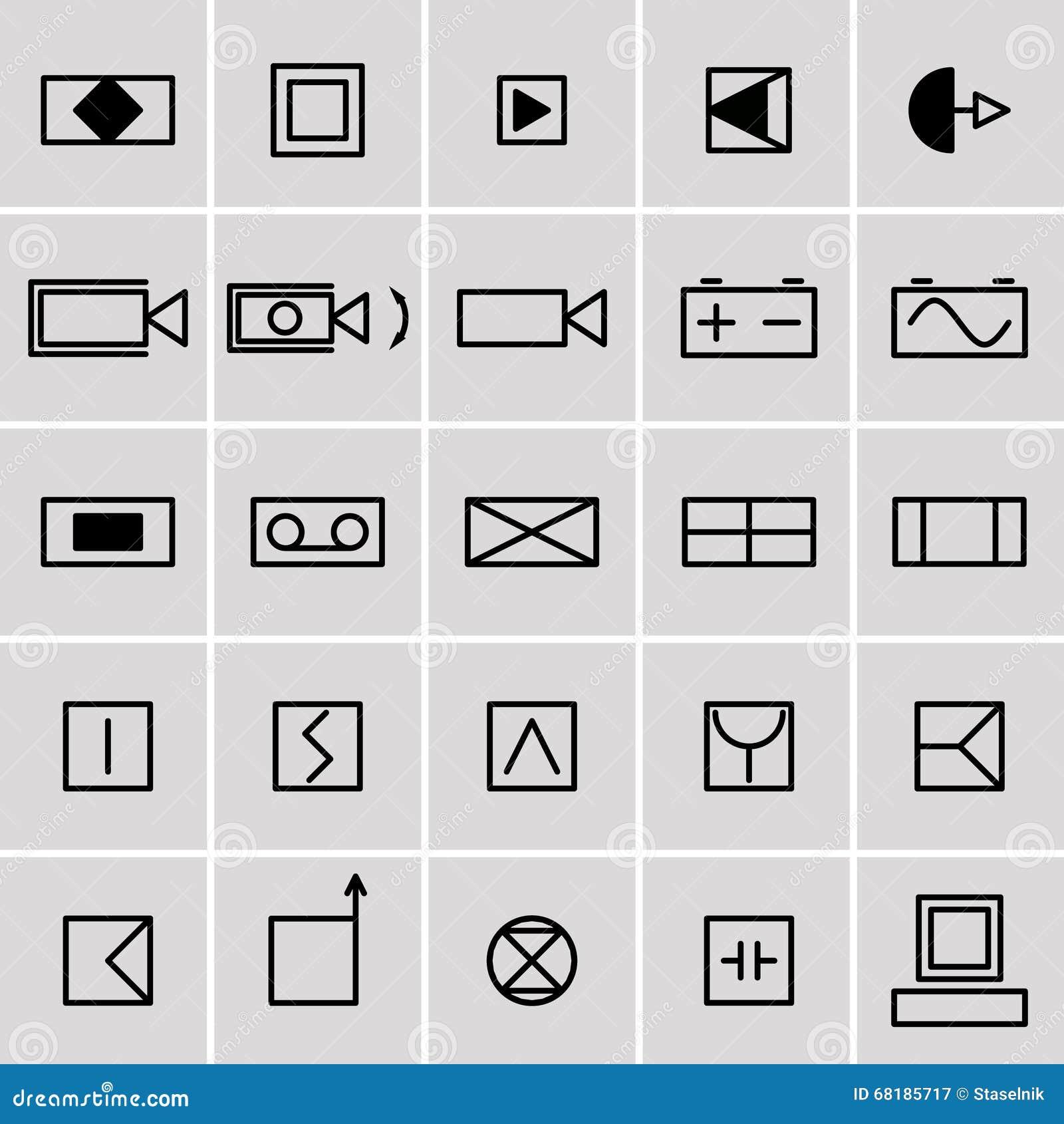 Elektrische Symbole Der Ikonen Vektor Abbildung - Illustration von ...