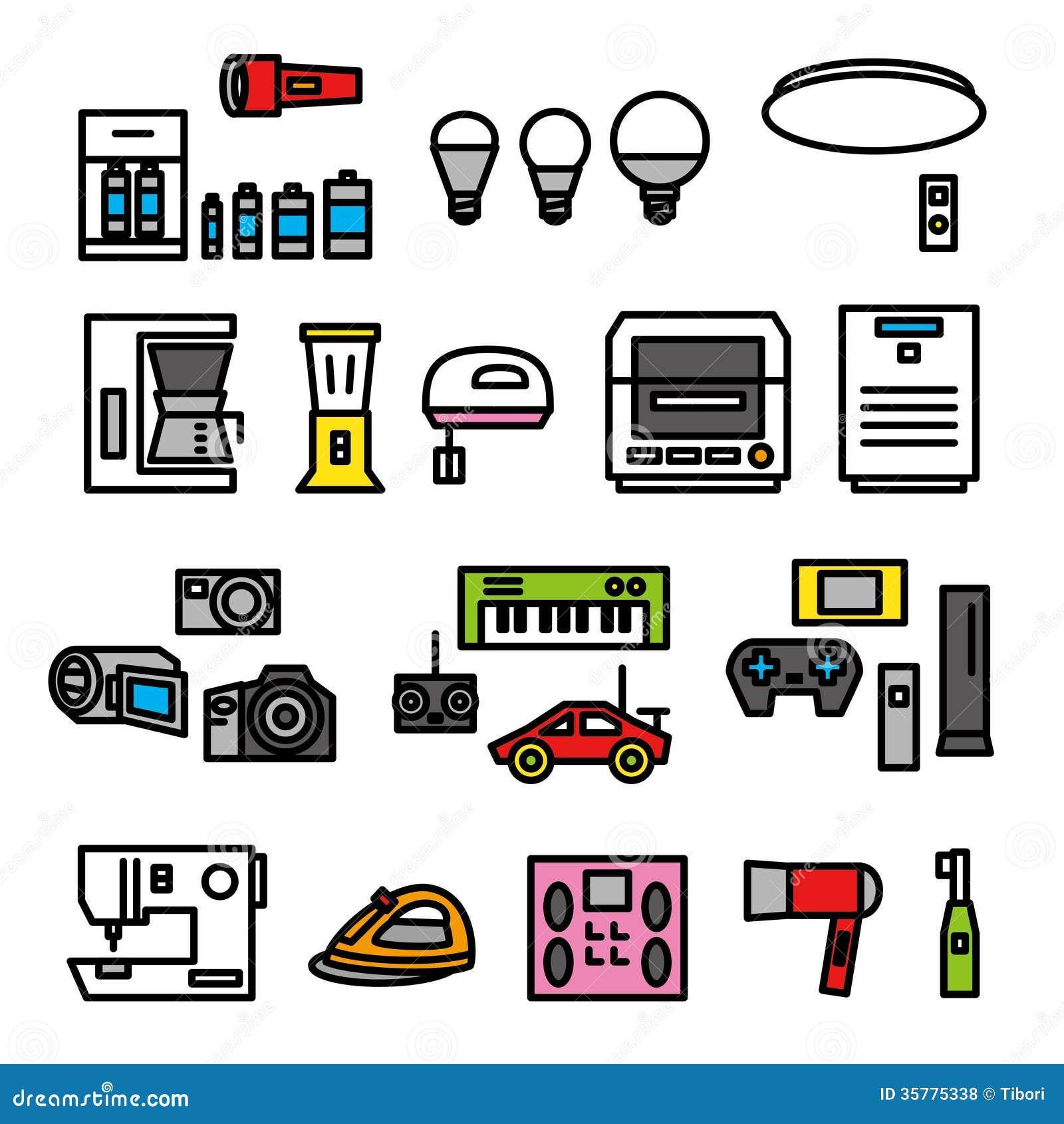 Elektrische toestellen 02 vector illustratie afbeelding bestaande uit auto 35775338 - Tape geleid keuken ...