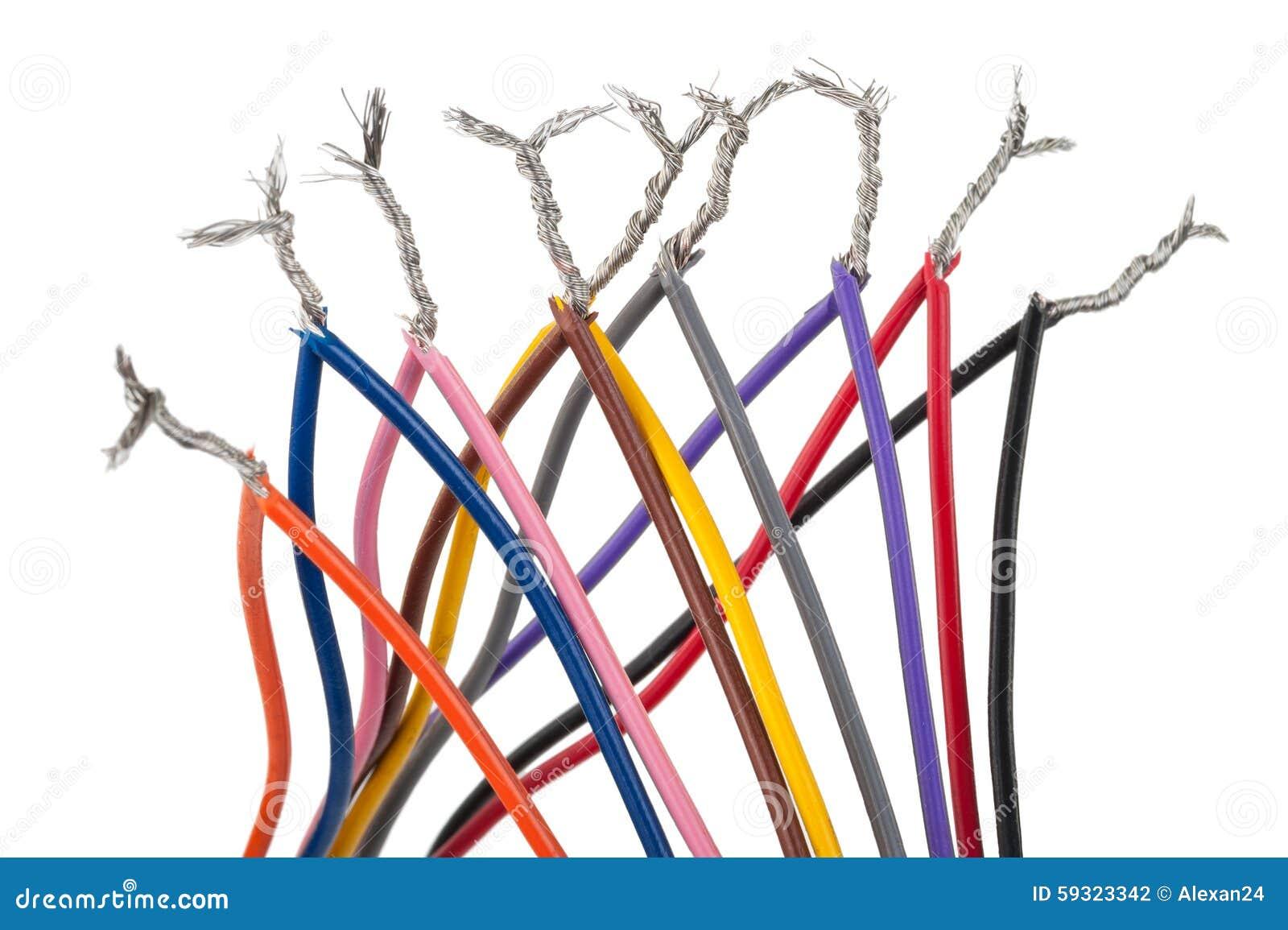 Elektrische Verbindung Mit Bunten Kabeln Stockfoto - Bild von zeile ...