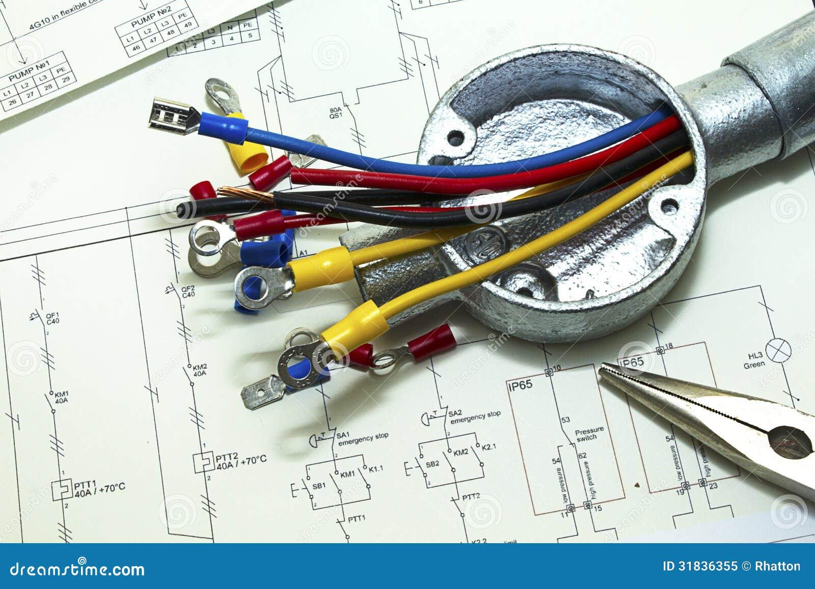 Elektrische Verdrahtung stockbild. Bild von anschlüsse - 31836355