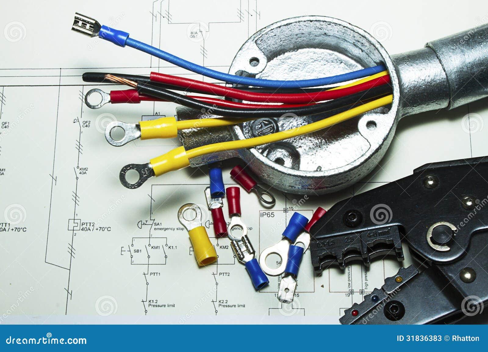 Elektrische Verdrahtung stockbild. Bild von anschlüsse - 31836383
