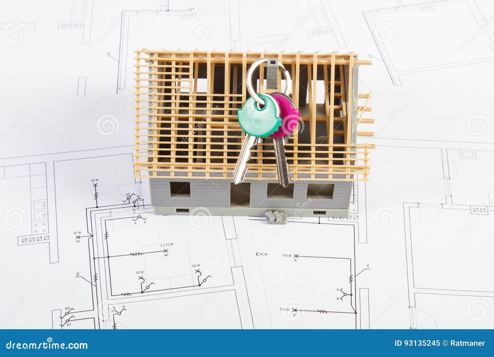 Elektrische Zeichnungen Und Diagramme Mit Dem Haus Im Bau Und ...