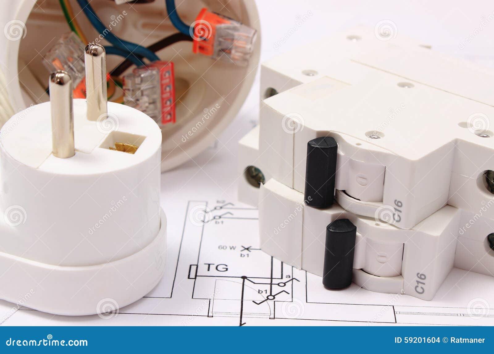 Elektrische Zekering En Stop Elektrodoos Op Bouwtekening