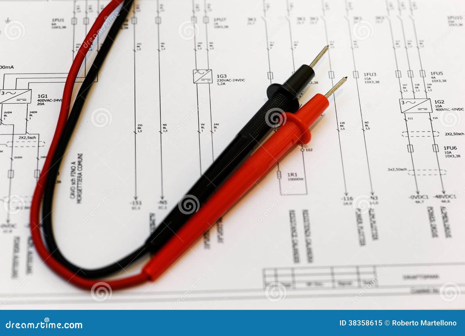 Elektrisches Diagramm, überprüfen. Stockbild - Bild von kennzeichen ...