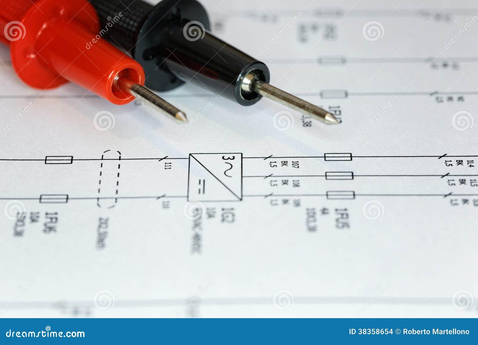 Elektrisches Diagramm, überprüfen. Stockfoto - Bild von leistung ...