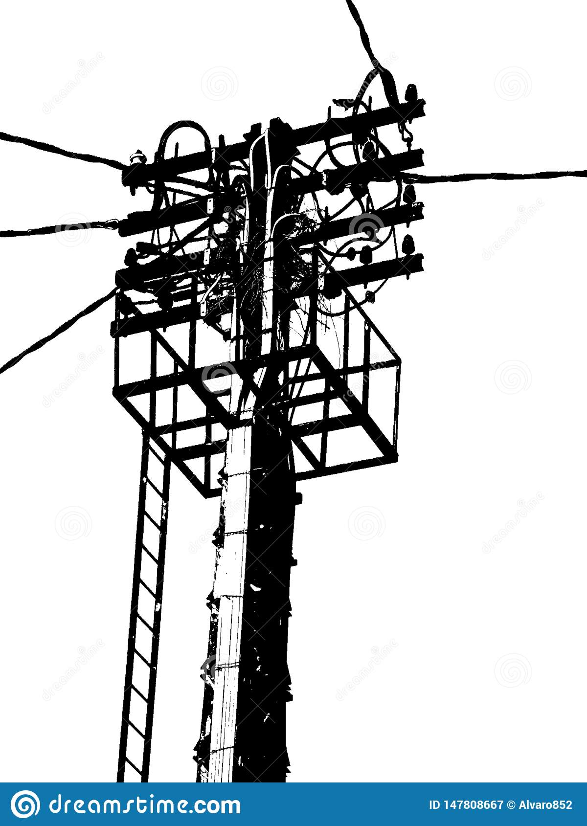 Elektrisk antenn i svartvit ljus stolpe