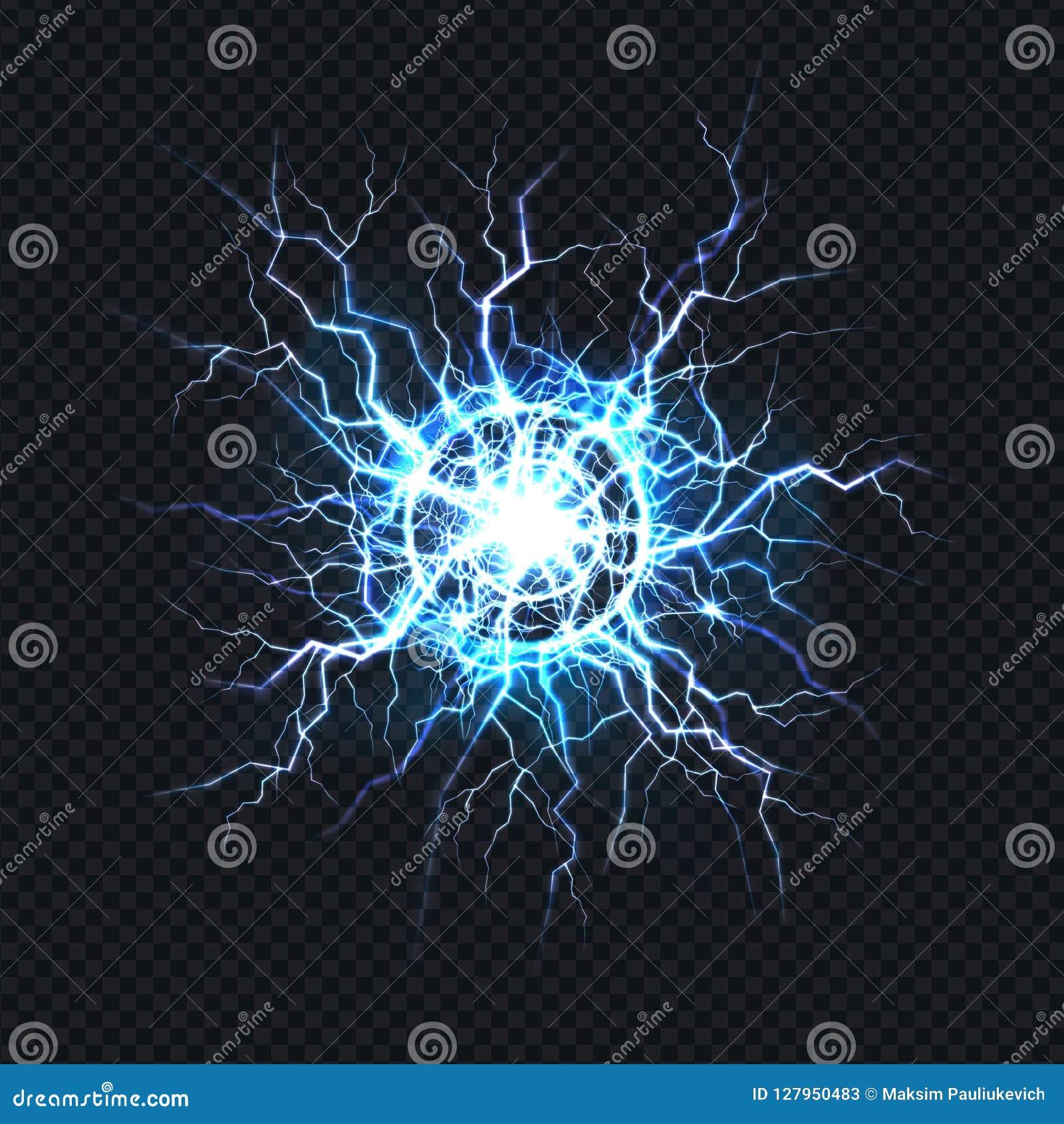 Elektrisk bristning, realistisk vektor för bollblixt