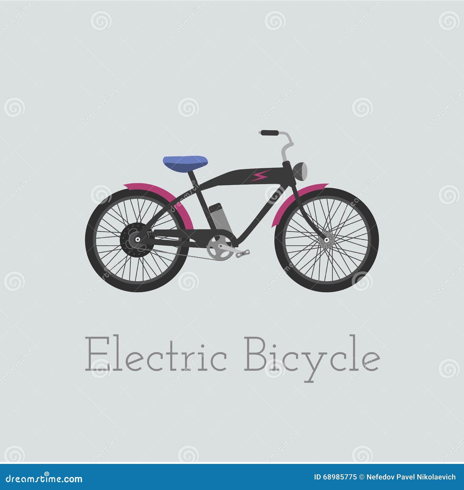 Elektrisk cykelillustration för vektor Elektrisk cykel som isoleras på vit bakgrund Cykel illus för Elkraft-cykel motocykel