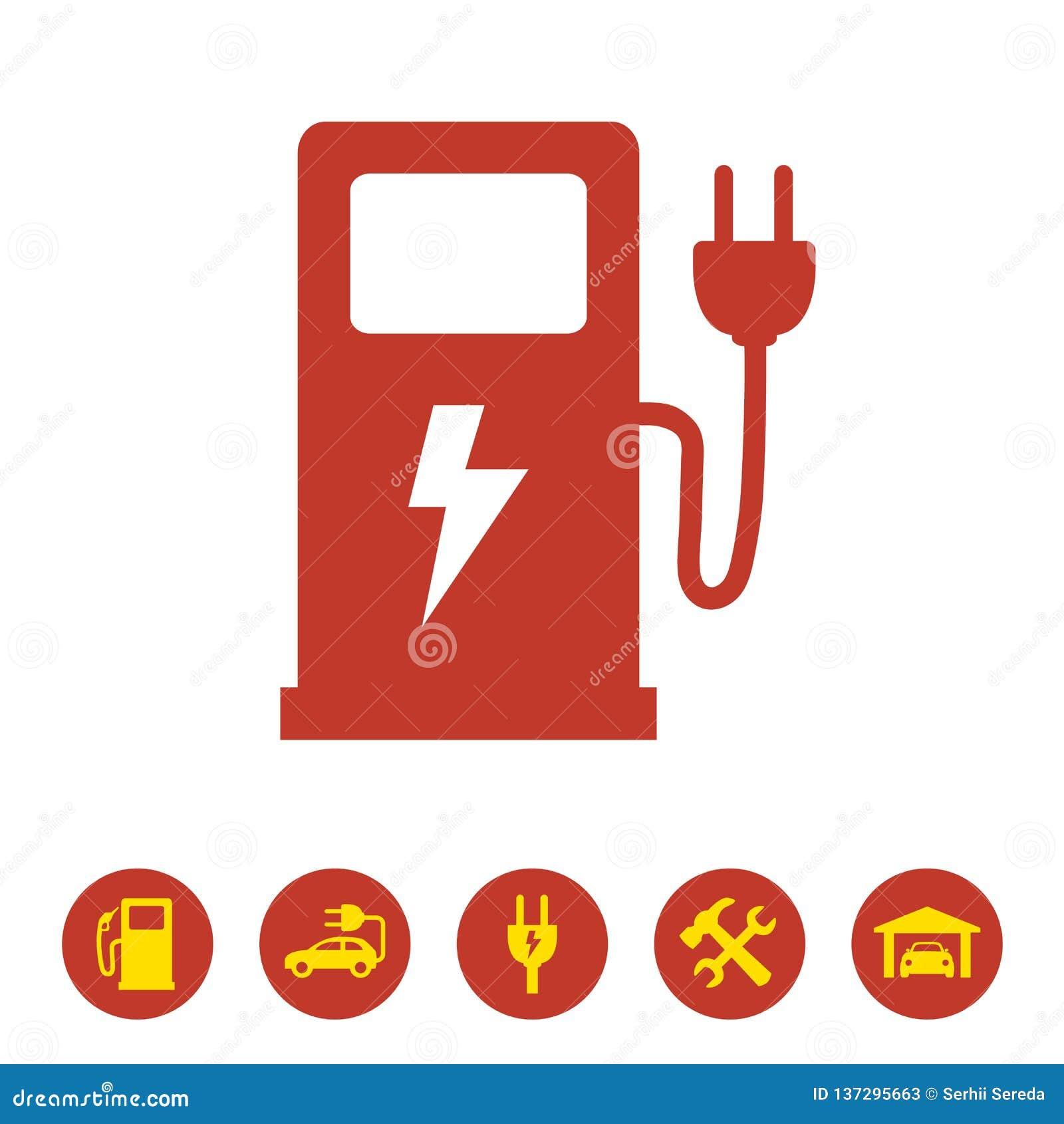 Elektrisk symbol för bränslepump på vit bakgrund
