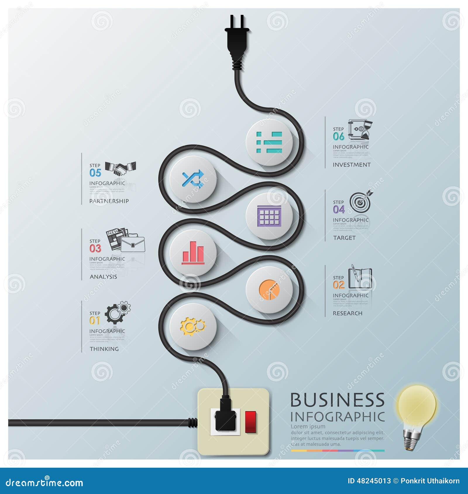 Elektrisk trådlinje diagramaffär Infographic för kurva