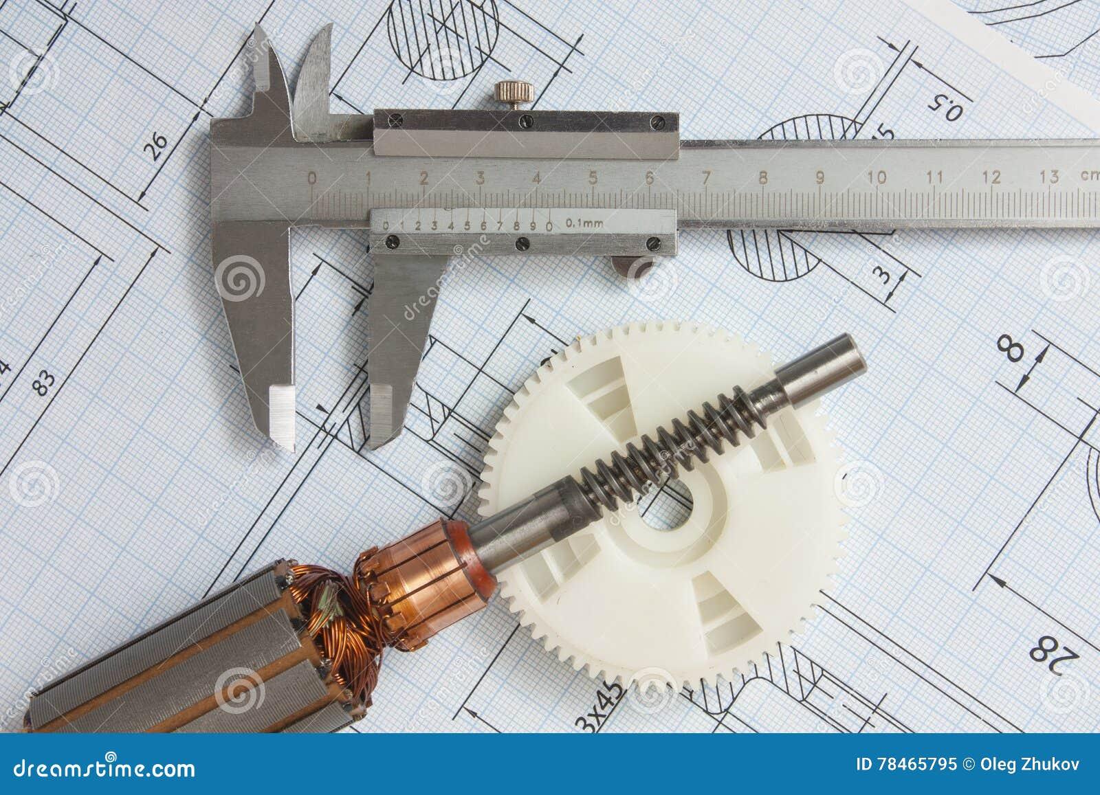 Elektriska delar och brevpapper som mäter hjälpmedel