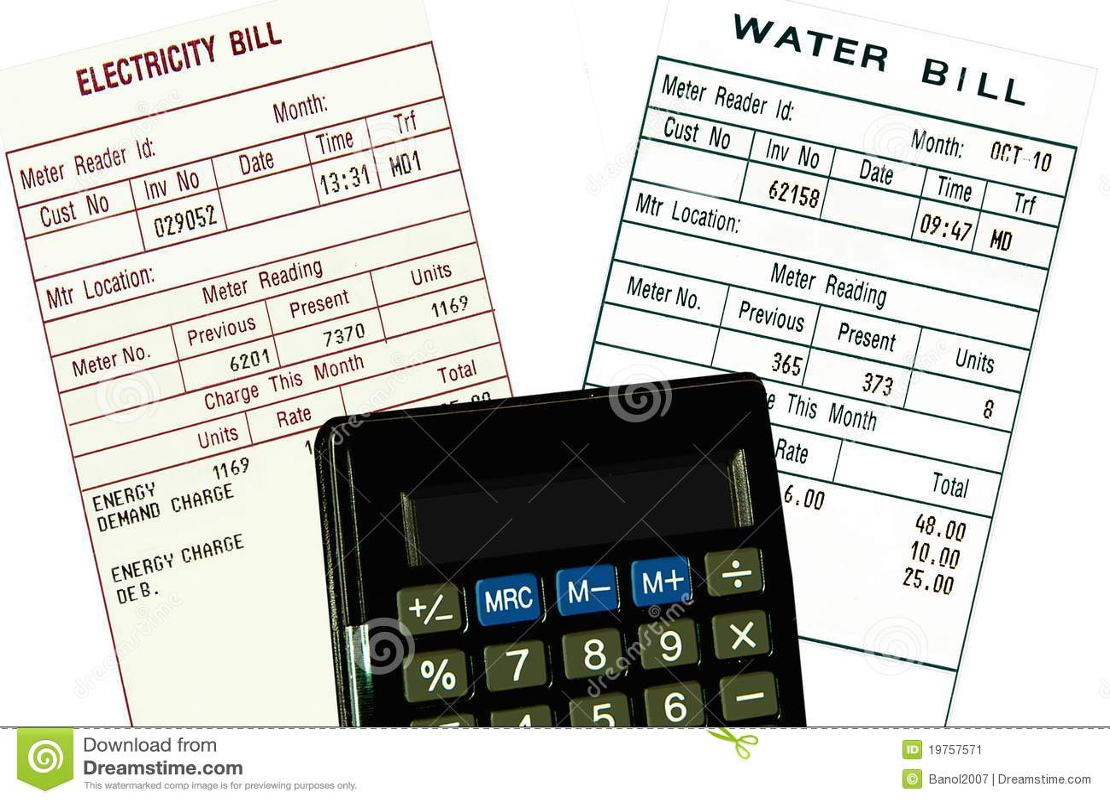 Elektrizität, Wasserrechnungen und Rechner. Konzept