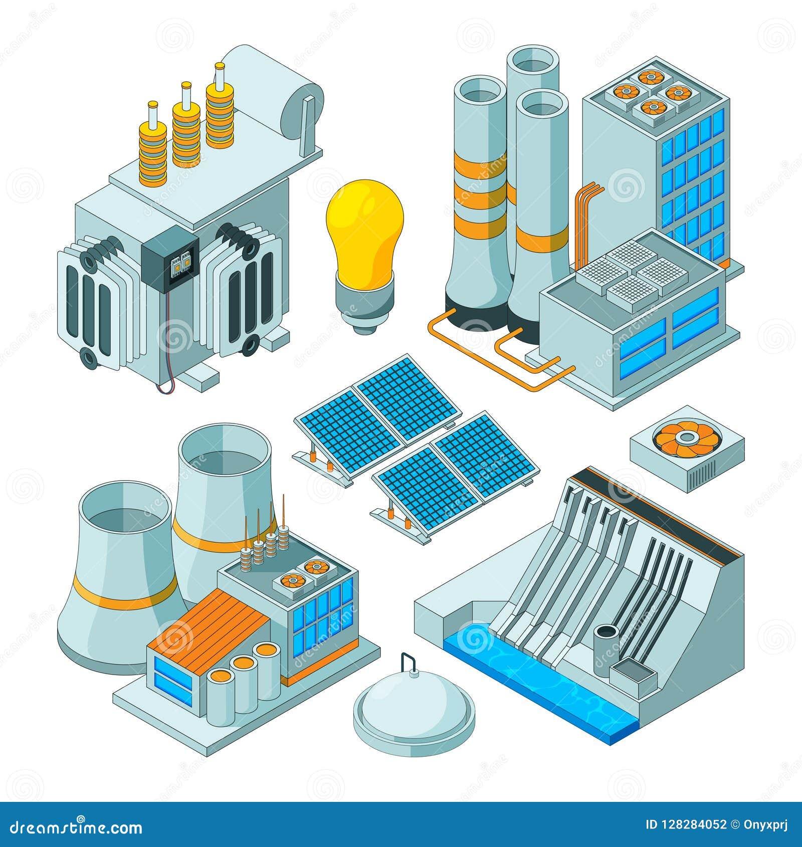 Elektro apparatuur Van de verlichtingsgenerators van de wattselektriciteit de vector isometrische geïsoleerde beelden